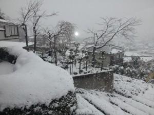 たちばなから望む雪景色の市内