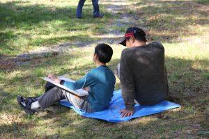 親子で写生大会。久しぶりのゆったりした時間です。