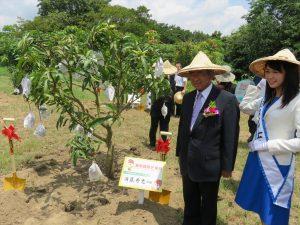 マンゴーの木を植樹する須藤市長